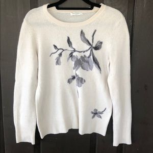 Equipment 100% Cashmere CrewNeck Floral Sweater
